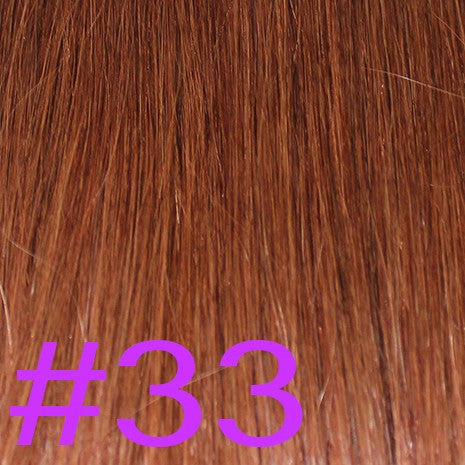 "24"" V-Tip Fusion Hair Extensions EUROPEAN STRAIGHT - Colour #033 - Dark Auburn"