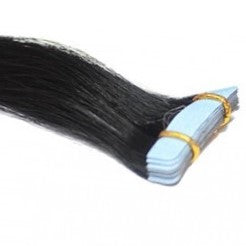 "20"" Tape In Luxury EUROPEAN Virgin Remy Extensions STRAIGHT - Colour #001 - Jet Black"