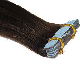"20"" Tape In Luxury EUROPEAN Virgin Remy Extensions STRAIGHT - Colour #002 - Darkest Brown"