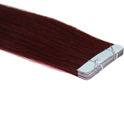 "20"" Tape In Luxury EUROPEAN Virgin Remy Extensions STRAIGHT - Colour #099J - Plum Merlot"