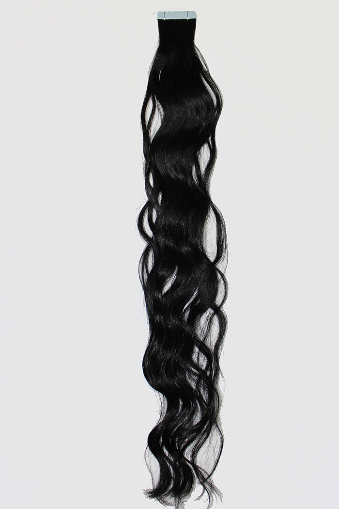 "20"" Tape In Extensions EUROPEAN BEACH WAVE - Colour #001 - Jet Black"