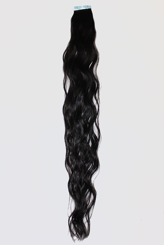 "20"" Tape In Extensions EUROPEAN BEACH WAVE - Colour #001b - Natural Black"