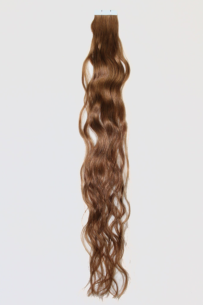 "20"" Tape In Extensions EUROPEAN BEACH WAVE - Colour #008 - Light Brown"