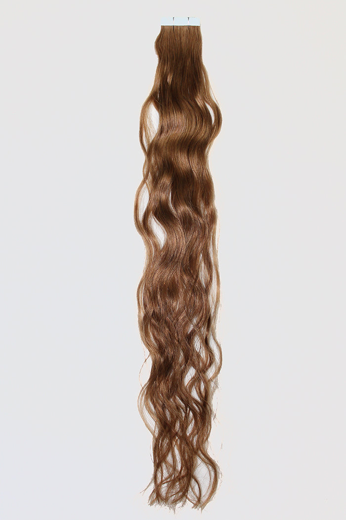 "20"" Tape In Luxury EUROPEAN Virgin Remy Extensions BEACH WAVE - Colour #007 - Medium Golden Brown"