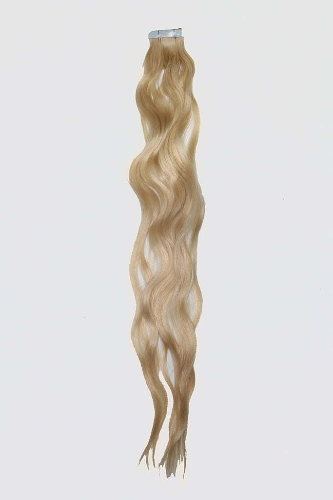 "20"" Tape In Luxury EUROPEAN Virgin Remy Extensions BEACH WAVE - Colour #060B - Lightest Pearl Blonde"