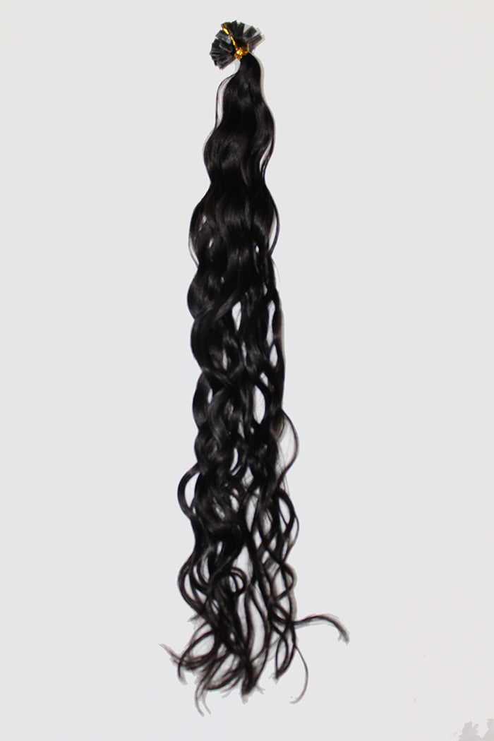 "20"" V-Tip Fusion Luxury EUROPEAN Virgin Remy Extensions  BEACH WAVE - Colour #001b - Natural Brown/Black"
