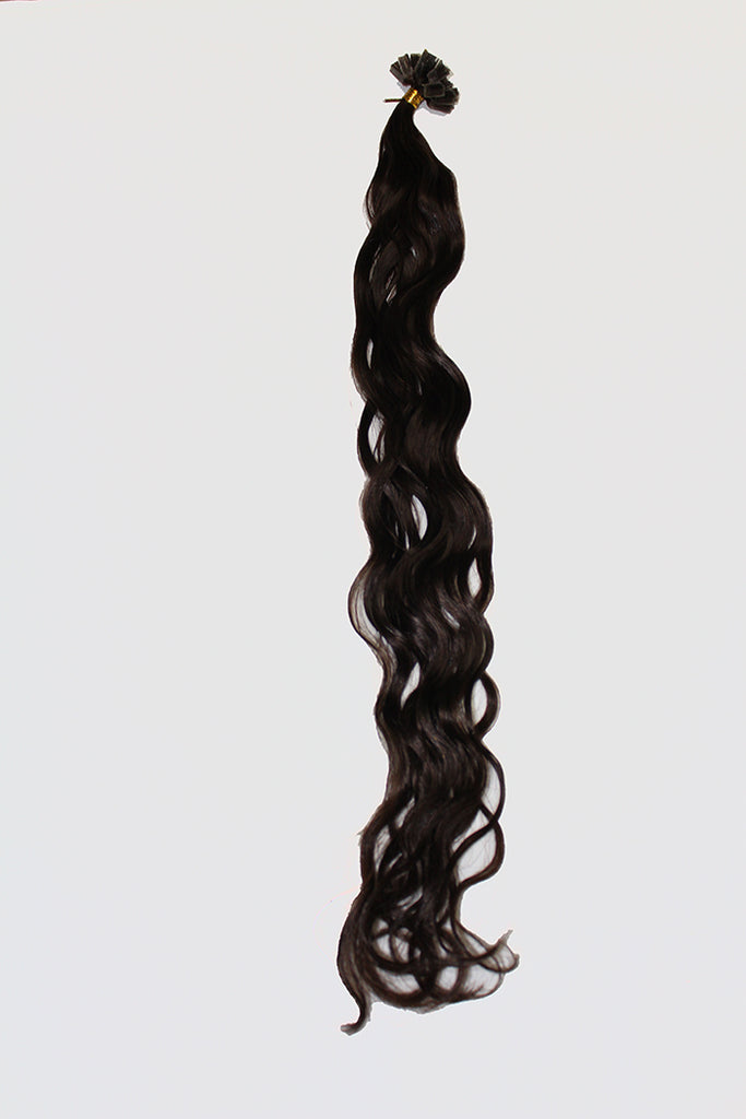"20"" V-Tip Fusion Luxury EUROPEAN Virgin Remy Extensions  BEACH WAVE - Colour #002 - Darkest Brown"