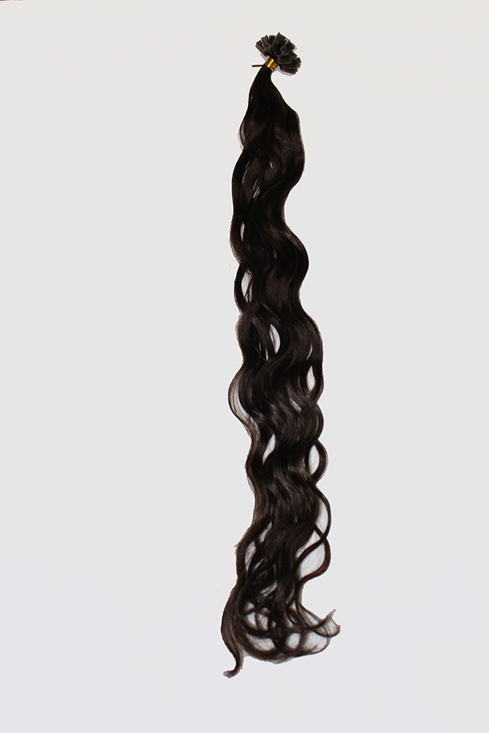"20"" V-Tip Fusion Hair Extensions EUROPEAN BEACH WAVE - Colour #002 - Darkest Brown"