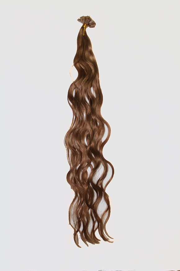 "20"" V-Tip Fusion Luxury EUROPEAN Virgin Remy Extensions  BEACH WAVE - Colour #007 - Medium Golden Brown"