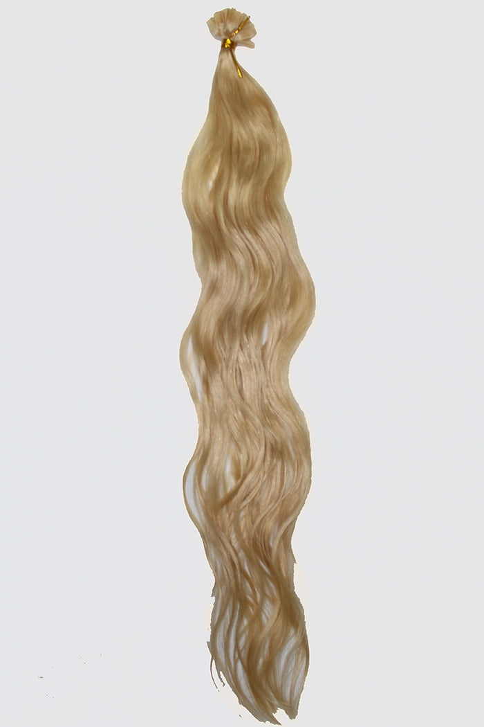 "20"" V-Tip Fusion Luxury EUROPEAN Virgin Remy Extensions  BEACH WAVE - Colour #022 - Medium Blonde"
