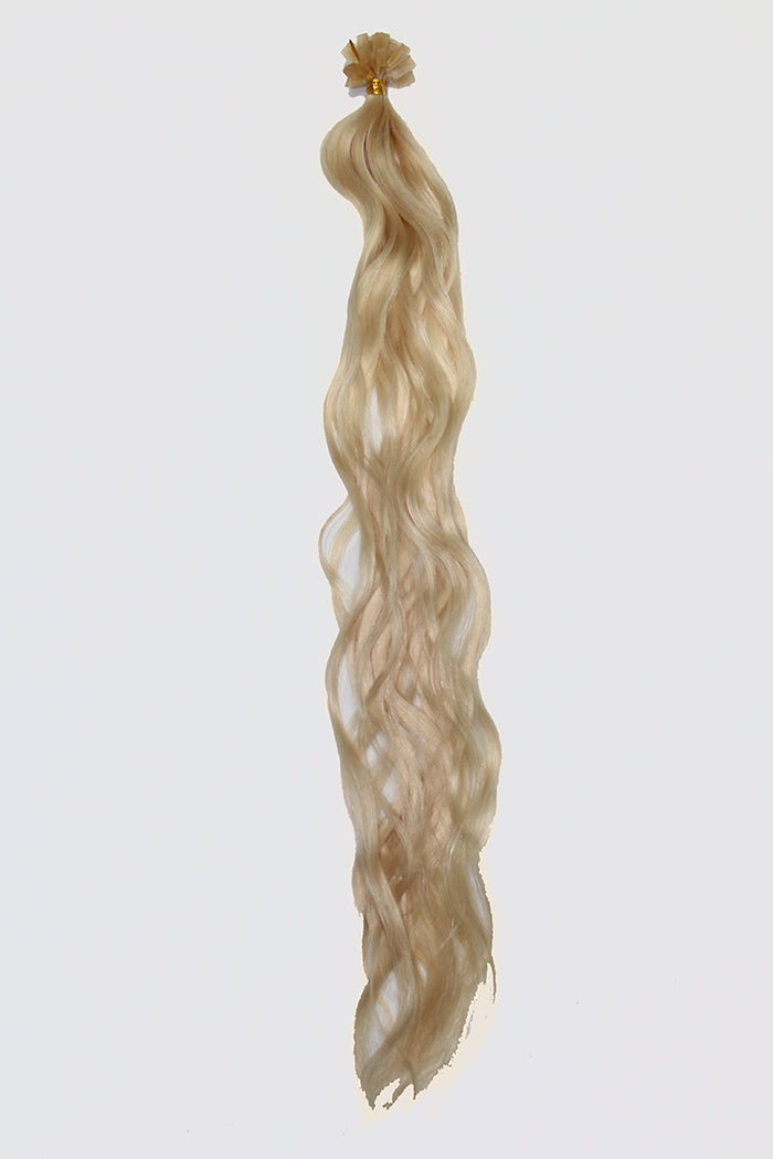 "20"" V-Tip Fusion Luxury EUROPEAN Virgin Remy Extensions  BEACH WAVE - Colour #060B - Lightest Pearl Blonde"