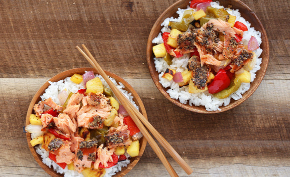 Honey Smoked Salmon Hawaiian Bowls
