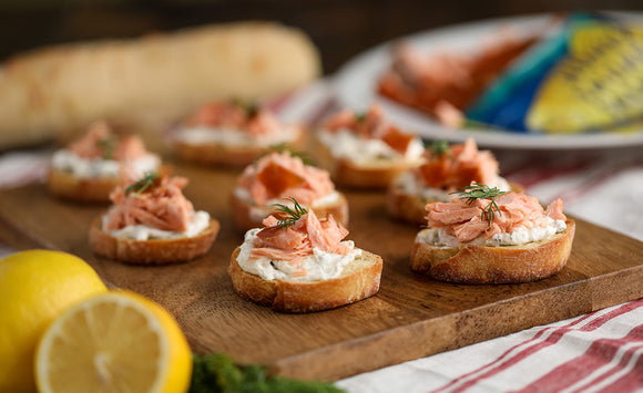 Honey Smoked Salmon Crostini