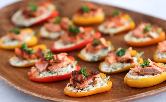 Honey Smoked Salmon Stuffed Bell Peppers