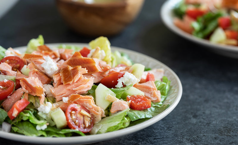 Greek Honey Smoked Salmon® Salad with Lemon Basil Dressing