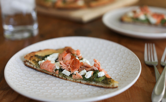 Honey Smoked Salmon Pesto Flatbread