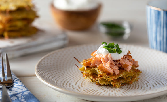 Honey Smoked Salmon Topped Potato Latkes
