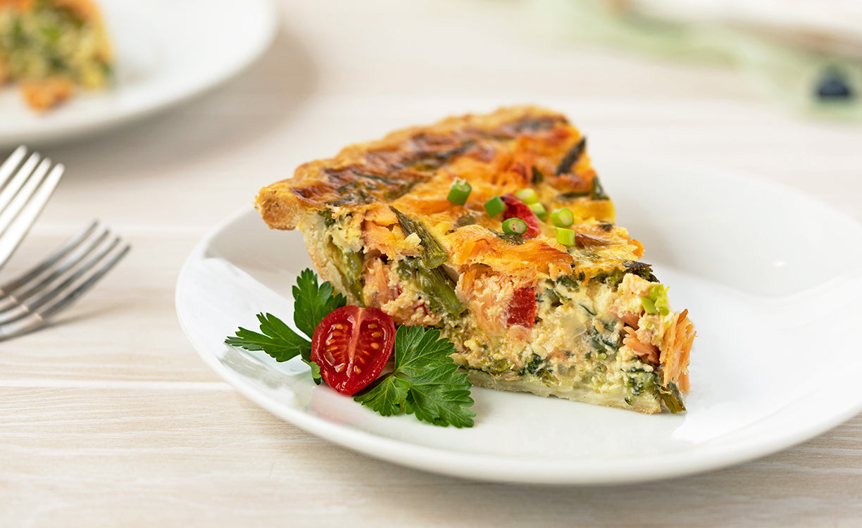 Honey Smoked Salmon® Quiche With Spring Vegetables