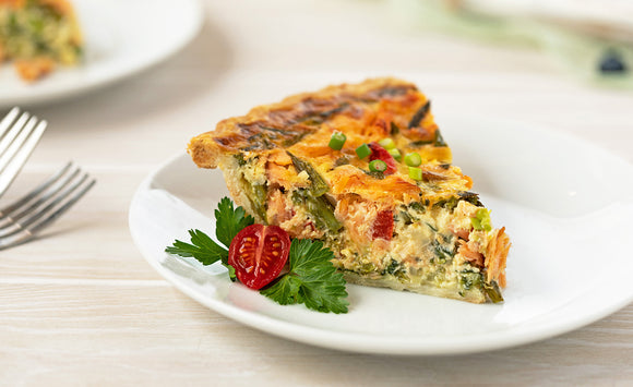 Honey Smoked Salmon Quiche With Spring Vegetables