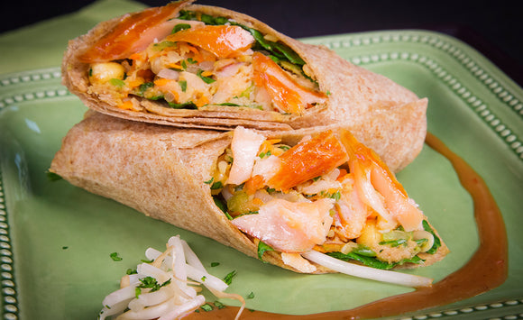 Honey Smoked Salmon Asian Wrap