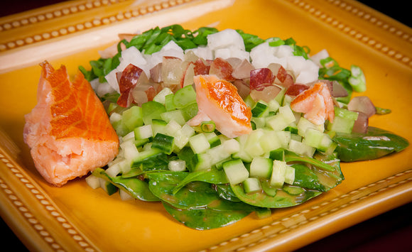 Honey Smoked Salmon Crunchy Spinach Salad