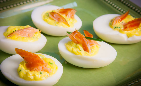 Honey Smoked Salmon Deviled Eggs