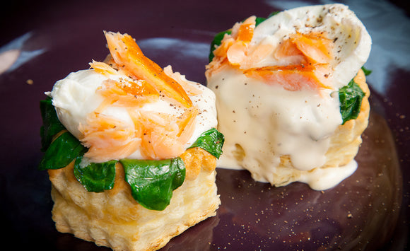 Honey Smoked Salmon Eggs Florentine