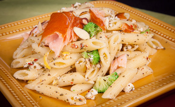 Honey Smoked Salmon Lemon Greek Pasta