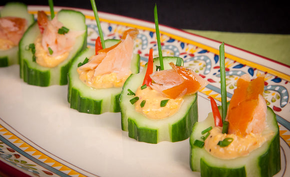 Honey Smoked Salmon Louis Cucumber Cups