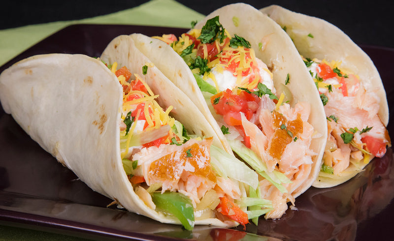 Honey Smoked Salmon® Tacos With Guacamole & Pico De Gallo