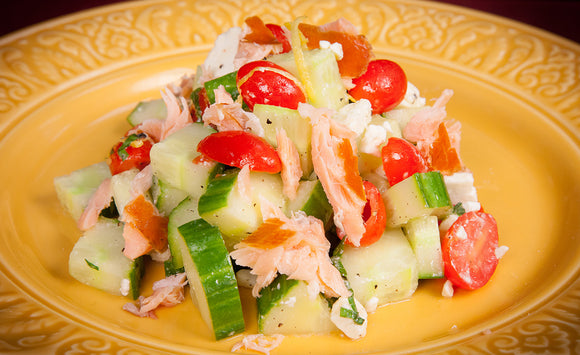 Honey Smoked Salmon Tomato-Cucumber Salad