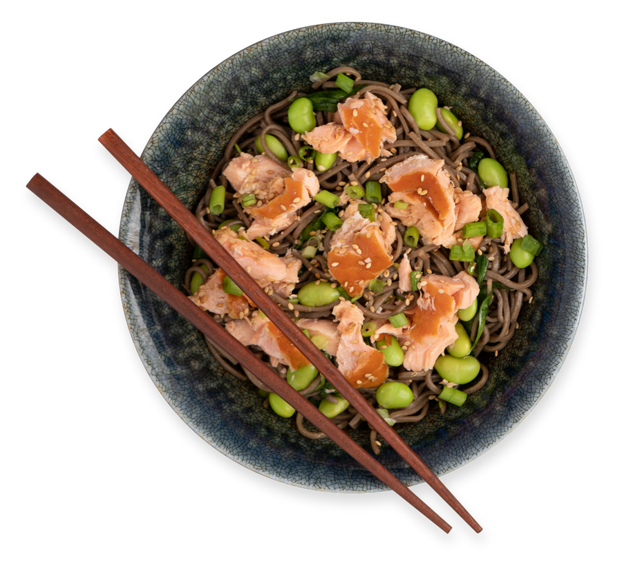 Smoked Salmon and lima bean soba noodles with chopsticks in bowl