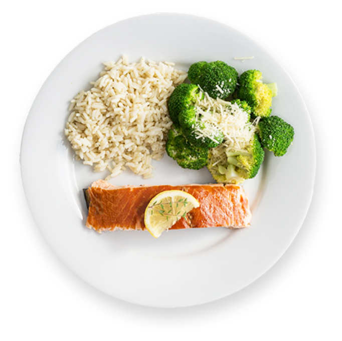 Plated smoked salmon with rice and broccoli