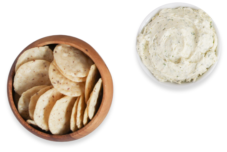Crackers and dip in bowls