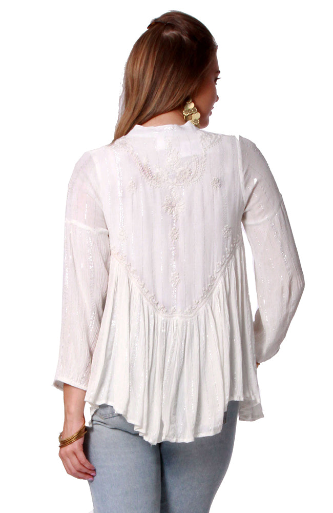 Viscose Lurex Blouse Natural