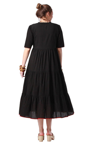 Plain Flora Dress Black