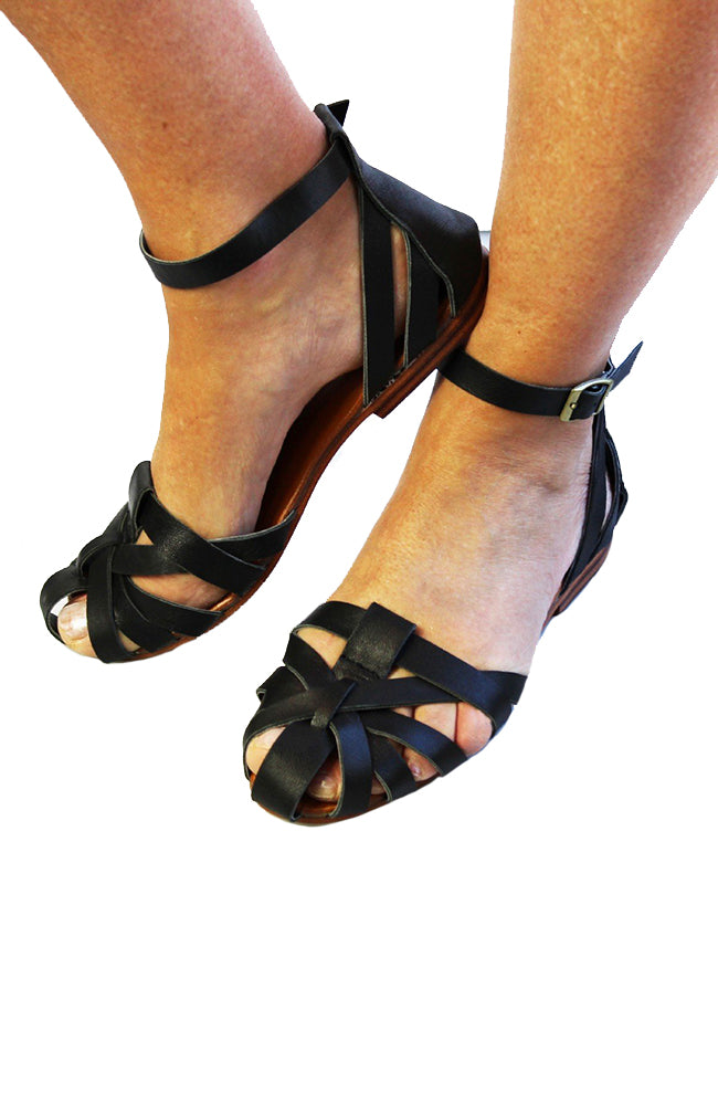 Spartan Leather Sandal - Black