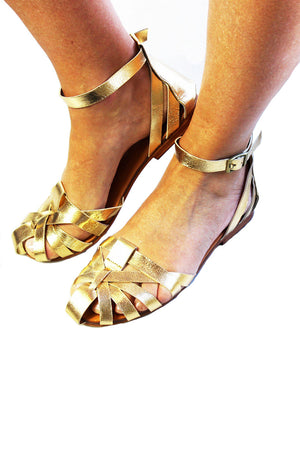 Spartan Leather Sandal - Gold