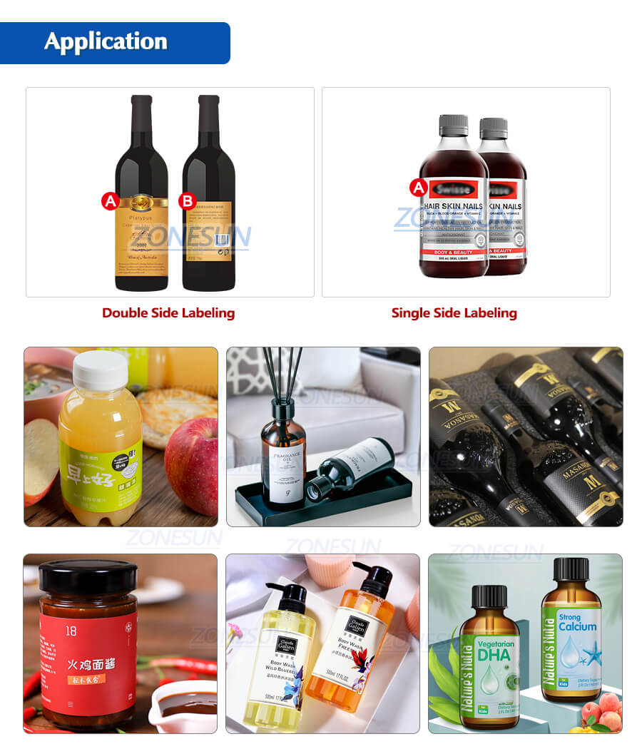 Application of ZS-TB260Z Automatic Round Bottle Labeling Machine