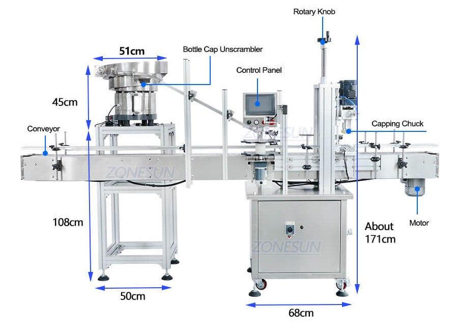 Dimension of Automatic Capping Machine With Cap Feeder