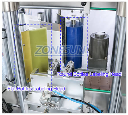 Labeling Structure of ZS-TB300Z Flat Round Bottle Labeling Machine