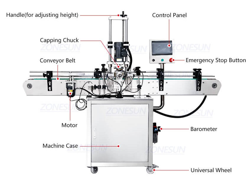 Dimension Of ZS-XG440D Twist Off Capping Machine