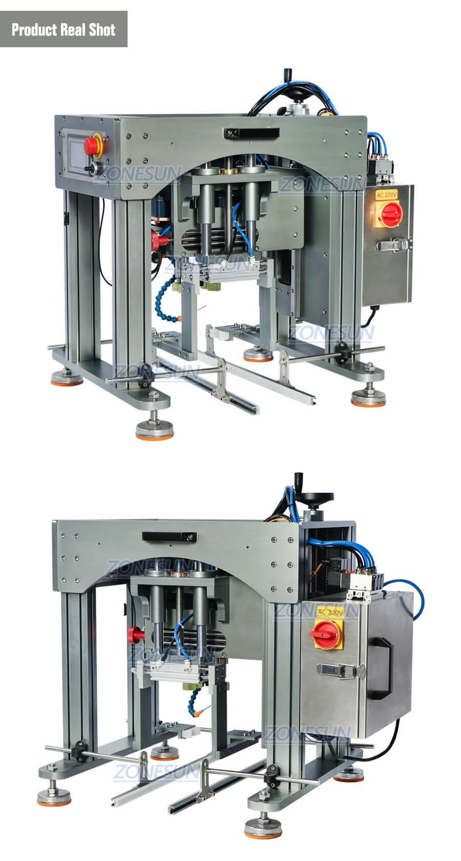 Real Shot of Semi-automatic Capping Machine for Conveyor Belt