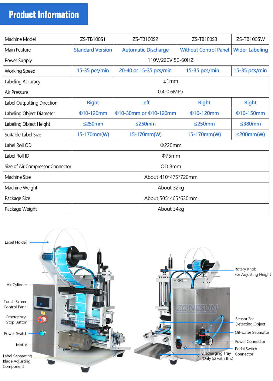 Parameter of ZS-TB100S Small Bottle Labeling Machine