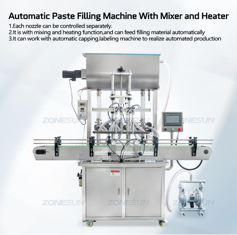 Paste Filling Machine With Mixer Heater