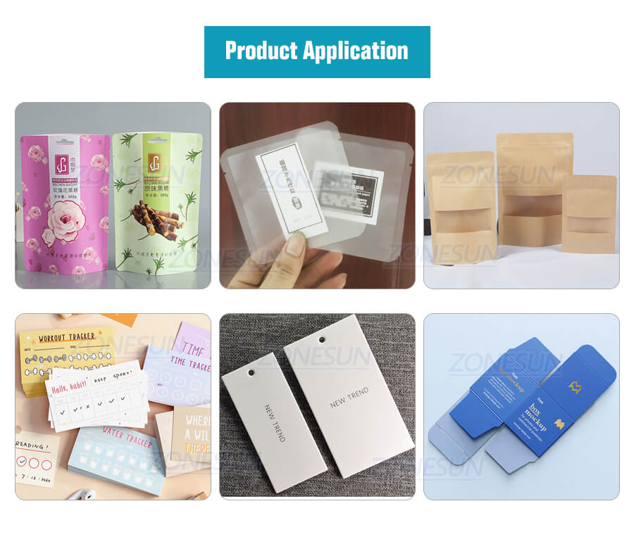 Application of ZS-TB180PBF Automatic Pouch Bag Paging And Labeling Machine