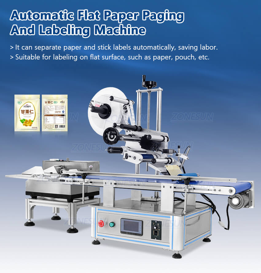 ZS-TB180PBF Automatic Pouch Bag Paging And Labeling Machine
