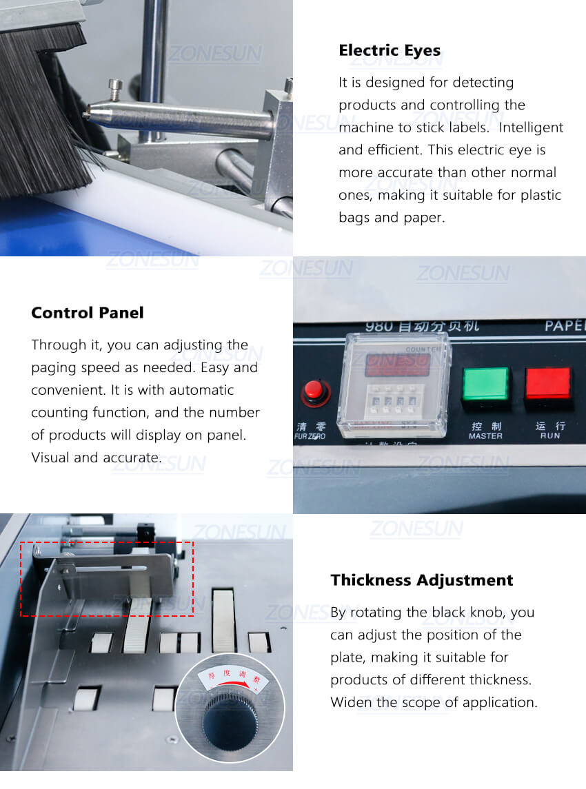 Details of ZS-TB180PBF Automatic Pouch Bag Paging And Labeling Machine