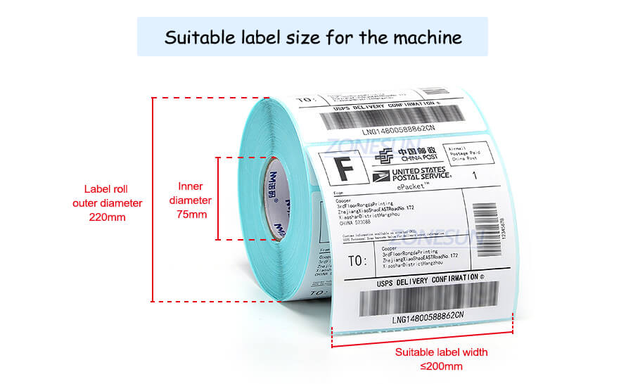 Label Size of ZS-TB100SW Bottle Labeling Machine