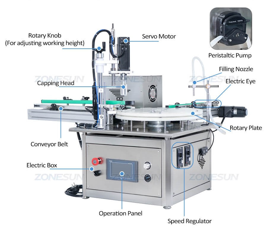Details of Small Bottle Filling Capping Machine With Conveyor